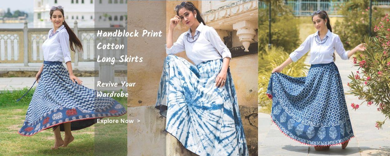 online hand block print cotton long skirts fashion